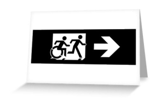 Accessible Means of Egress Icon Exit Sign Wheelchair Wheelie Running Man Symbol by Lee Wilson PWD Disability Emergency Evacuation Greeting Card 116