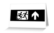 Accessible Means of Egress Icon Exit Sign Wheelchair Wheelie Running Man Symbol by Lee Wilson PWD Disability Emergency Evacuation Greeting Card 117