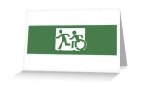 Accessible Means of Egress Icon Exit Sign Wheelchair Wheelie Running Man Symbol by Lee Wilson PWD Disability Emergency Evacuation Greeting Card 118