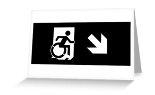 Accessible Means of Egress Icon Exit Sign Wheelchair Wheelie Running Man Symbol by Lee Wilson PWD Disability Emergency Evacuation Greeting Card 120