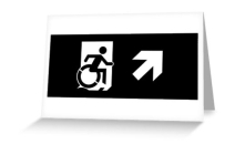 Accessible Means of Egress Icon Exit Sign Wheelchair Wheelie Running Man Symbol by Lee Wilson PWD Disability Emergency Evacuation Greeting Card 121