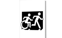 Accessible Means of Egress Icon Exit Sign Wheelchair Wheelie Running Man Symbol by Lee Wilson PWD Disability Emergency Evacuation Greeting Card 122