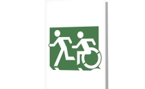 Accessible Means of Egress Icon Exit Sign Wheelchair Wheelie Running Man Symbol by Lee Wilson PWD Disability Emergency Evacuation Greeting Card 123