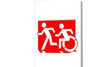 Accessible Means of Egress Icon Exit Sign Wheelchair Wheelie Running Man Symbol by Lee Wilson PWD Disability Emergency Evacuation Greeting Card 125