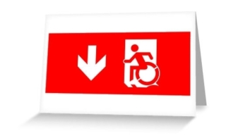 Accessible Means of Egress Icon Exit Sign Wheelchair Wheelie Running Man Symbol by Lee Wilson PWD Disability Emergency Evacuation Greeting Card 126