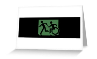 Accessible Means of Egress Icon Exit Sign Wheelchair Wheelie Running Man Symbol by Lee Wilson PWD Disability Emergency Evacuation Greeting Card 1