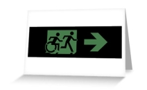 Accessible Means of Egress Icon Exit Sign Wheelchair Wheelie Running Man Symbol by Lee Wilson PWD Disability Emergency Evacuation Greeting Card 13