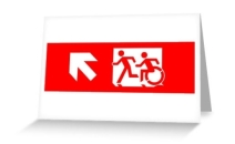 Accessible Means of Egress Icon Exit Sign Wheelchair Wheelie Running Man Symbol by Lee Wilson PWD Disability Emergency Evacuation Greeting Card 16