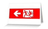 Accessible Means of Egress Icon Exit Sign Wheelchair Wheelie Running Man Symbol by Lee Wilson PWD Disability Emergency Evacuation Greeting Card 17