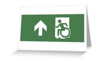 Accessible Means of Egress Icon Exit Sign Wheelchair Wheelie Running Man Symbol by Lee Wilson PWD Disability Emergency Evacuation Greeting Card 18