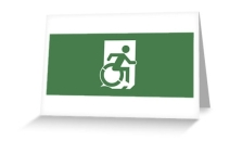 Accessible Means of Egress Icon Exit Sign Wheelchair Wheelie Running Man Symbol by Lee Wilson PWD Disability Emergency Evacuation Greeting Card 19