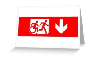 Accessible Means of Egress Icon Exit Sign Wheelchair Wheelie Running Man Symbol by Lee Wilson PWD Disability Emergency Evacuation Greeting Card 20