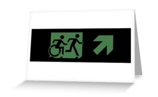 Accessible Means of Egress Icon Exit Sign Wheelchair Wheelie Running Man Symbol by Lee Wilson PWD Disability Emergency Evacuation Greeting Card 2