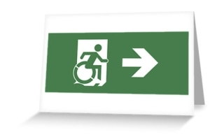Accessible Means of Egress Icon Exit Sign Wheelchair Wheelie Running Man Symbol by Lee Wilson PWD Disability Emergency Evacuation Greeting Card 23