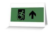 Accessible Means of Egress Icon Exit Sign Wheelchair Wheelie Running Man Symbol by Lee Wilson PWD Disability Emergency Evacuation Greeting Card 24