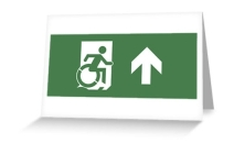 Accessible Means of Egress Icon Exit Sign Wheelchair Wheelie Running Man Symbol by Lee Wilson PWD Disability Emergency Evacuation Greeting Card 25