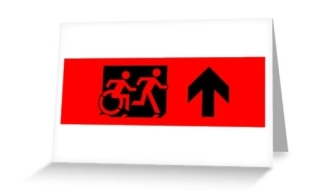 Accessible Means of Egress Icon Exit Sign Wheelchair Wheelie Running Man Symbol by Lee Wilson PWD Disability Emergency Evacuation Greeting Card 26