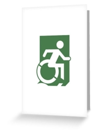 Accessible Means of Egress Icon Exit Sign Wheelchair Wheelie Running Man Symbol by Lee Wilson PWD Disability Emergency Evacuation Greeting Card 29