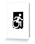 Accessible Means of Egress Icon Exit Sign Wheelchair Wheelie Running Man Symbol by Lee Wilson PWD Disability Emergency Evacuation Greeting Card 31