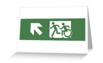Accessible Means of Egress Icon Exit Sign Wheelchair Wheelie Running Man Symbol by Lee Wilson PWD Disability Emergency Evacuation Greeting Card 3