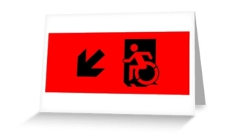 Accessible Means of Egress Icon Exit Sign Wheelchair Wheelie Running Man Symbol by Lee Wilson PWD Disability Emergency Evacuation Greeting Card 33