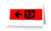 Accessible Means of Egress Icon Exit Sign Wheelchair Wheelie Running Man Symbol by Lee Wilson PWD Disability Emergency Evacuation Greeting Card 34