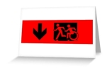 Accessible Means of Egress Icon Exit Sign Wheelchair Wheelie Running Man Symbol by Lee Wilson PWD Disability Emergency Evacuation Greeting Card 36
