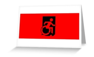 Accessible Means of Egress Icon Exit Sign Wheelchair Wheelie Running Man Symbol by Lee Wilson PWD Disability Emergency Evacuation Greeting Card 37