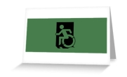 Accessible Means of Egress Icon Exit Sign Wheelchair Wheelie Running Man Symbol by Lee Wilson PWD Disability Emergency Evacuation Greeting Card 38