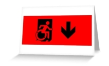 Accessible Means of Egress Icon Exit Sign Wheelchair Wheelie Running Man Symbol by Lee Wilson PWD Disability Emergency Evacuation Greeting Card 39