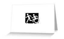 Accessible Means of Egress Icon Exit Sign Wheelchair Wheelie Running Man Symbol by Lee Wilson PWD Disability Emergency Evacuation Greeting Card 40