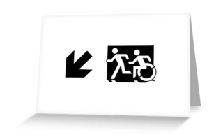 Accessible Means of Egress Icon Exit Sign Wheelchair Wheelie Running Man Symbol by Lee Wilson PWD Disability Emergency Evacuation Greeting Card 41