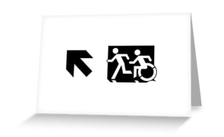 Accessible Means of Egress Icon Exit Sign Wheelchair Wheelie Running Man Symbol by Lee Wilson PWD Disability Emergency Evacuation Greeting Card 42