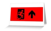 Accessible Means of Egress Icon Exit Sign Wheelchair Wheelie Running Man Symbol by Lee Wilson PWD Disability Emergency Evacuation Greeting Card 43