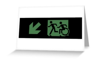 Accessible Means of Egress Icon Exit Sign Wheelchair Wheelie Running Man Symbol by Lee Wilson PWD Disability Emergency Evacuation Greeting Card 44