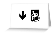 Accessible Means of Egress Icon Exit Sign Wheelchair Wheelie Running Man Symbol by Lee Wilson PWD Disability Emergency Evacuation Greeting Card 45