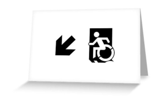 Accessible Means of Egress Icon Exit Sign Wheelchair Wheelie Running Man Symbol by Lee Wilson PWD Disability Emergency Evacuation Greeting Card 46