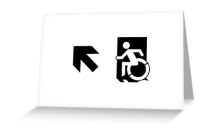 Accessible Means of Egress Icon Exit Sign Wheelchair Wheelie Running Man Symbol by Lee Wilson PWD Disability Emergency Evacuation Greeting Card 47