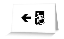 Accessible Means of Egress Icon Exit Sign Wheelchair Wheelie Running Man Symbol by Lee Wilson PWD Disability Emergency Evacuation Greeting Card 48