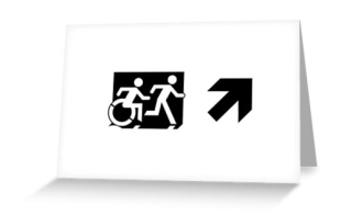 Accessible Means of Egress Icon Exit Sign Wheelchair Wheelie Running Man Symbol by Lee Wilson PWD Disability Emergency Evacuation Greeting Card 49
