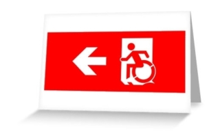Accessible Means of Egress Icon Exit Sign Wheelchair Wheelie Running Man Symbol by Lee Wilson PWD Disability Emergency Evacuation Greeting Card 5