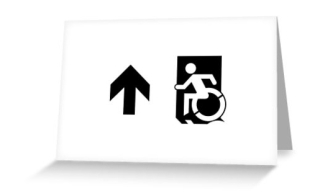 Accessible Means of Egress Icon Exit Sign Wheelchair Wheelie Running Man Symbol by Lee Wilson PWD Disability Emergency Evacuation Greeting Card 50