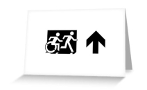 Accessible Means of Egress Icon Exit Sign Wheelchair Wheelie Running Man Symbol by Lee Wilson PWD Disability Emergency Evacuation Greeting Card 51