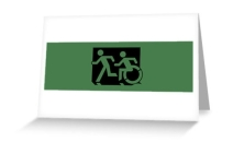 Accessible Means of Egress Icon Exit Sign Wheelchair Wheelie Running Man Symbol by Lee Wilson PWD Disability Emergency Evacuation Greeting Card 52
