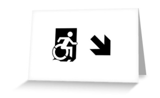 Accessible Means of Egress Icon Exit Sign Wheelchair Wheelie Running Man Symbol by Lee Wilson PWD Disability Emergency Evacuation Greeting Card 53