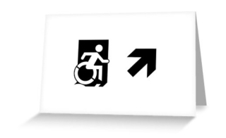 Accessible Means of Egress Icon Exit Sign Wheelchair Wheelie Running Man Symbol by Lee Wilson PWD Disability Emergency Evacuation Greeting Card 54