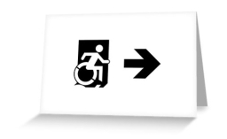 Accessible Means of Egress Icon Exit Sign Wheelchair Wheelie Running Man Symbol by Lee Wilson PWD Disability Emergency Evacuation Greeting Card 55