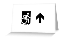 Accessible Means of Egress Icon Exit Sign Wheelchair Wheelie Running Man Symbol by Lee Wilson PWD Disability Emergency Evacuation Greeting Card 56