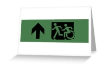 Accessible Means of Egress Icon Exit Sign Wheelchair Wheelie Running Man Symbol by Lee Wilson PWD Disability Emergency Evacuation Greeting Card 58