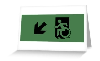 Accessible Means of Egress Icon Exit Sign Wheelchair Wheelie Running Man Symbol by Lee Wilson PWD Disability Emergency Evacuation Greeting Card 60